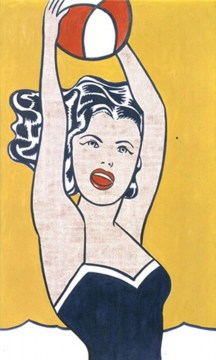 girl-with-ball-quadro-in-acrilico-su-tela-dipinto-a-mano-omaggio-a-roy-lichtenstein-l.60xh.100cm