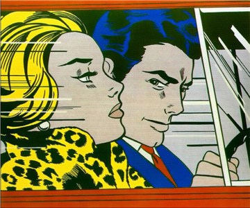 in-the-car-quadro-in-acrilico-su-tela-dipinto-a-mano-omaggio-a-roy-lichtenstein-l.85xh.100cm