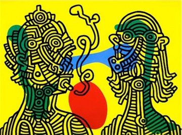 keith-and-julia-quadro-in-acrilico-multicolor-su-tela-dipinto-a-mano-omaggio-a-keith-haring-l.80xh.100cm