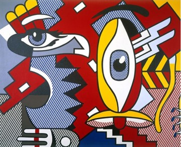 two-figures-indian-quadro-in-acrilico-su-tela-dipinto-a-mano-omaggio-a-roy-lichtenstein-l.80xh.90cm