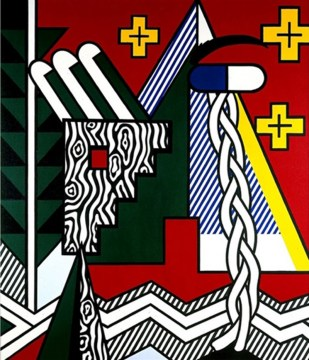 two-figures-with-teepee-quadro-in-acrilico-multicolor-su-tela-dipinto-a-mano-omaggio-a-roy-lichtenstein-l.80xh.90cm