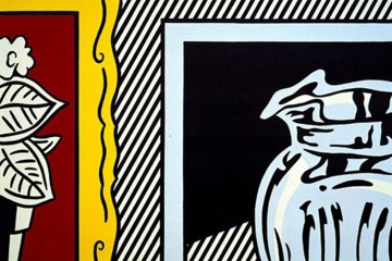two-painting-pitcher-and-flowers-quadro-in-acrilico-su-tela-dipinto-a-mano-omaggio-a-roy-lichtenstein-l.80xh.120cm